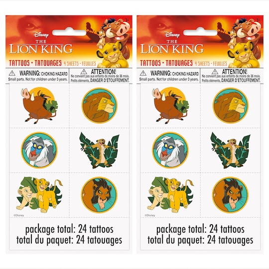 The Lion King Tattoos, 48Ct By Unique | Michaels®