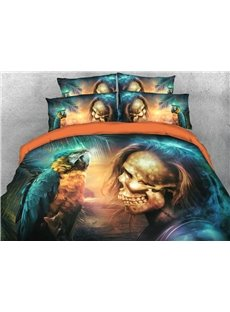 Handsome Skull And Parrot 3D Printed 4-Piece Polyester Bedding Sets/Duvet Covers