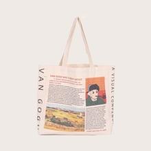 Newspaper Graphic Shopper Bag