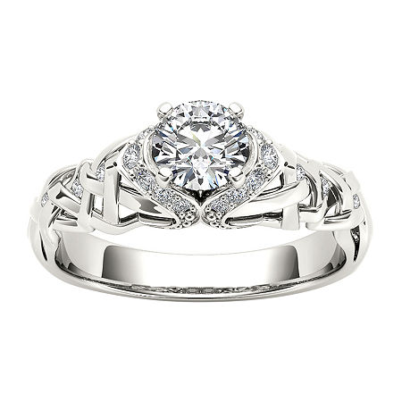 1/2 CT. T.W. Round White Diamond 14K Gold Engagement Ring, 6 1/2 , No Color Family