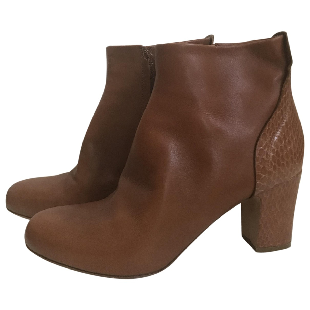 Maison Martin Margiela \N Brown Leather Ankle boots for Women 40 IT