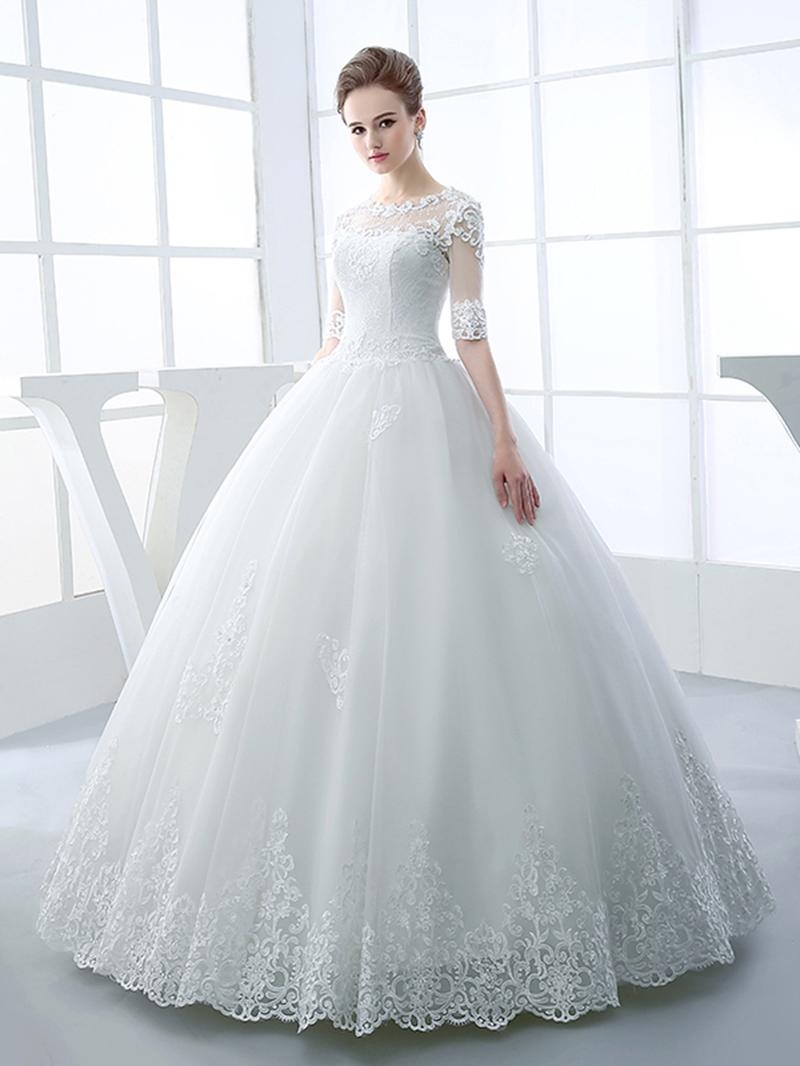 Ericdress Appliques Beading Ball Gown Wedding Dress