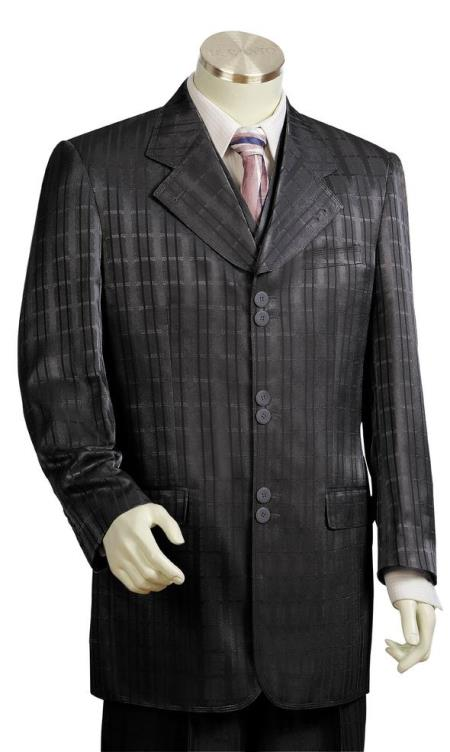 Mens Ombre Grid Wide Lapel Black Zoot Suit