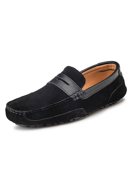 Milanoo Mens Bule Loafers Shoes Cowhide Round Toe Slip On Driving Shoes