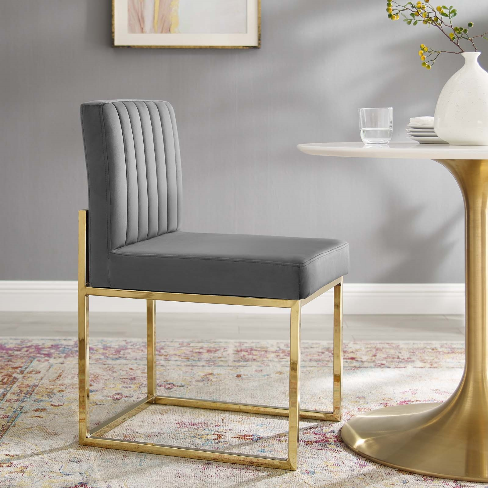 Carriage Channel Tufted Sled Base Performance Velvet Dining Chair in Gold Charcoal