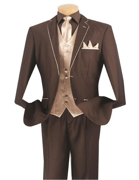 Men's Brown/Beige 5 Piece Single Breasted 2 Button Side Vents Suit