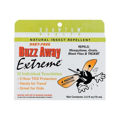 Buzz Away Extreme Natural Deet-Free Towelette, 12 Count by Quantum Health