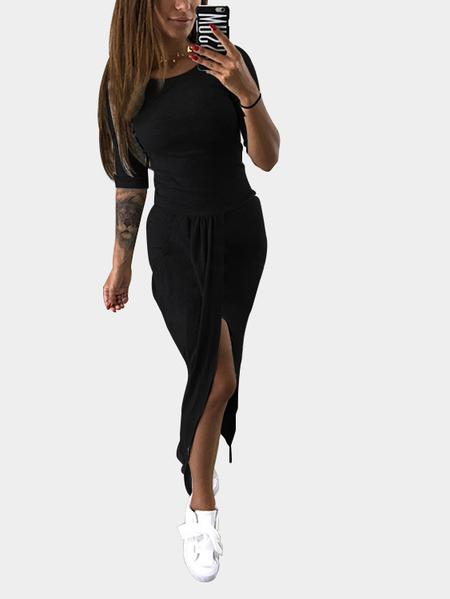 Yoins Black Pleated Design 3/4 Length Sleeeves Slit Maxi Dress