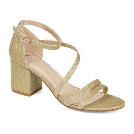 Journee Collection Womens Bella Buckle Open Toe Block Heel Pumps, 10 Medium, Yellow