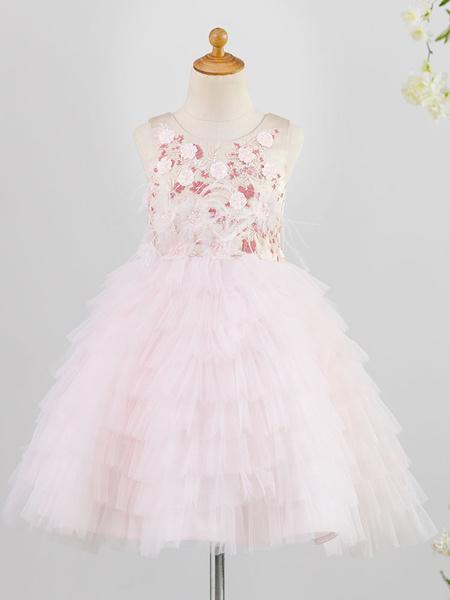 Milanoo Flower Girl Dresses Jewel Neck Sleeveless Tiered Kids Social Party Dresses