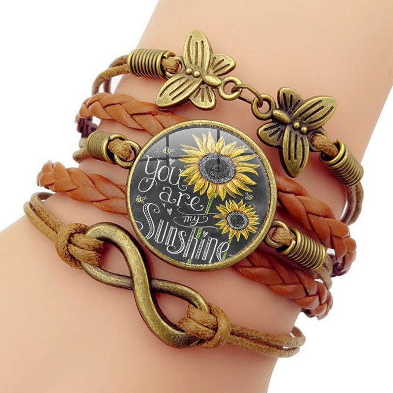 Retro Butterfly Infinity Symbol Braided Bracelet Sunflower Printed Time Gemstone Multi-layer Bracelet