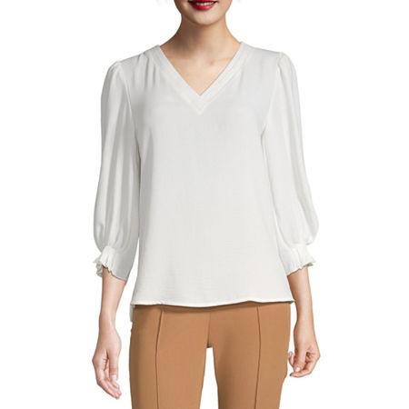 Worthington Womens 3/4 Sleeve Textured Pleat VNeck Top, Petite X-large , White