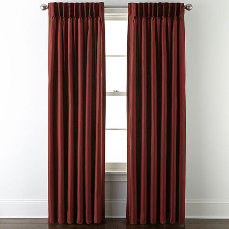 JCPenney Home Supreme Energy Saving Light-Filtering Pinch-Pleat Single Curtain Panel, One Size , Brown