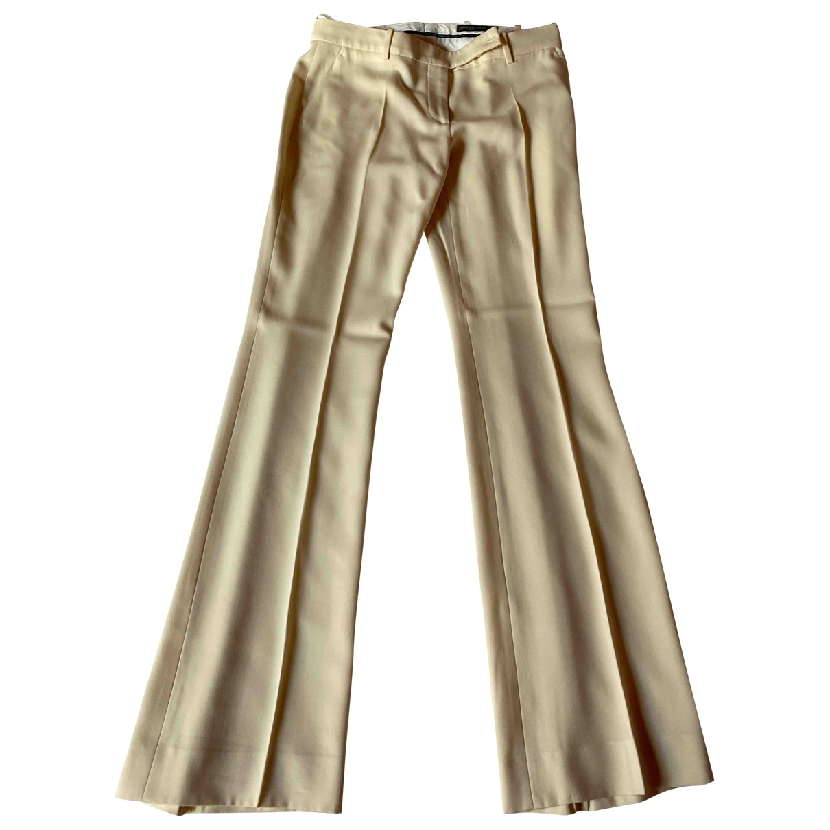 Alexander Mcqueen \N Beige Silk Trousers for Women 42 IT