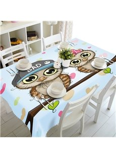Two Cute Cartoon Owl Prints Design Dining Room Decoration 3D Tablecloth