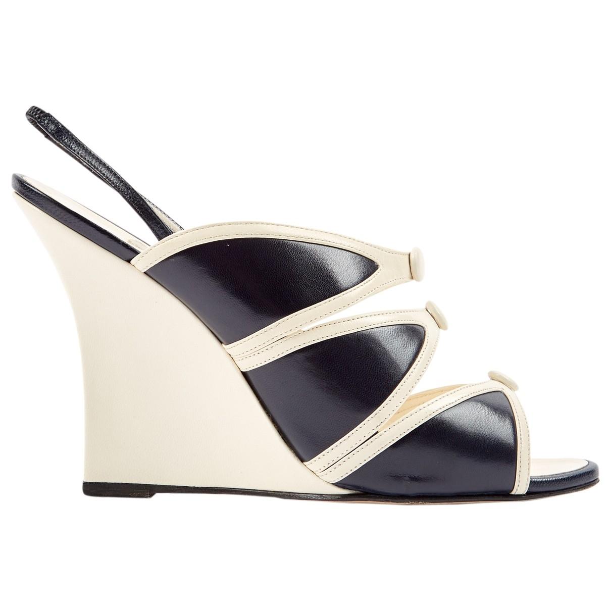 Manolo Blahnik \N Ecru Leather Heels for Women 38 EU
