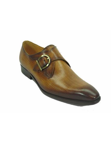 Men's Carrucci Monk Strap Fashionable Cognac Buckle Leather Loafer