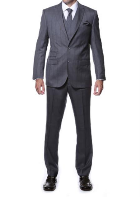 Zillo Grey Blue 3 Piece Vested Window Pane Slim Fit Plaid Suit