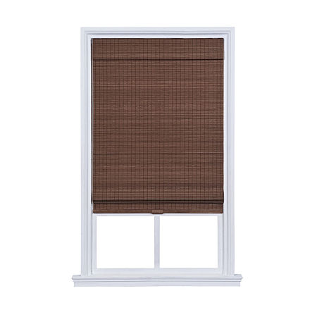 JCPenney Home Newport Privacy Bamboo Cordless Room Darkening Roman Shade, One Size , Brown