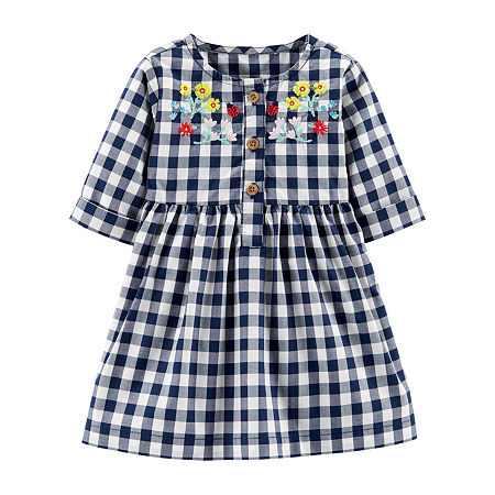 Carter's Baby Girls Long Sleeve A-Line Dress, 18 Months , Multiple Colors