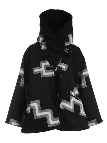 Milanoo Coat For Woman Printed High Collar Long Sleeves Casual Irregular Black Winter Coat
