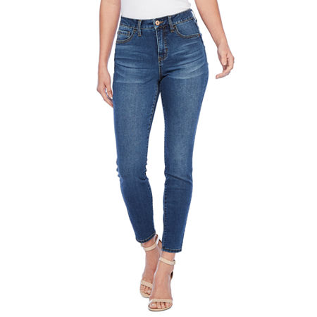 Bold Elements Fit Solution Womens Mid Rise Skinny Fit Jean, 16 , Blue