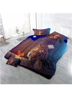Tiger Watching Butterfly Wear-resistant Breathable High Quality 60s Cotton 4-Piece 3D Bedding Sets