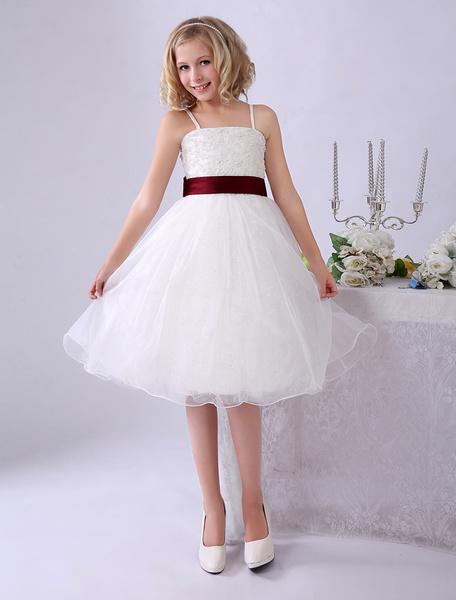 Milanoo Ivory Flower Girl Dresses Spaghetti Straps Tutu Dress Lace Ribbon Bow Sash Short Kids Party Dress
