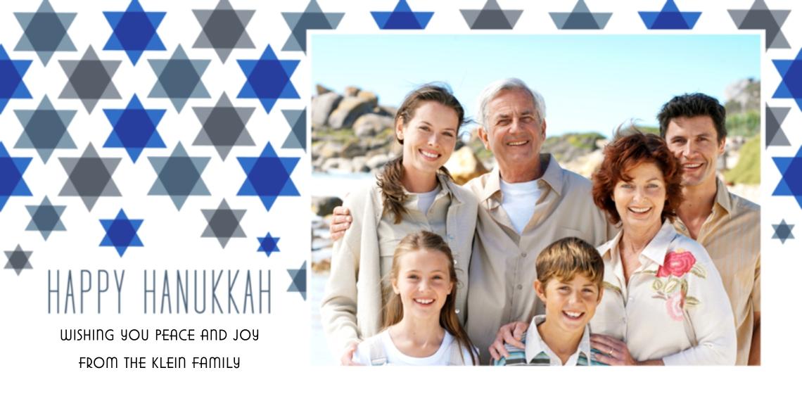 Hanukkah Photo Cards 4x8 Flat Card Set, 85lb, Card & Stationery -Star Pattern Hanukkah