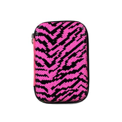 Trousse à paillettes de style léopard, 2 poches et 1 à clins - Moustache® - Rose