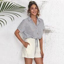 Button Front Batwing Sleeve Striped Top & Shorts Set
