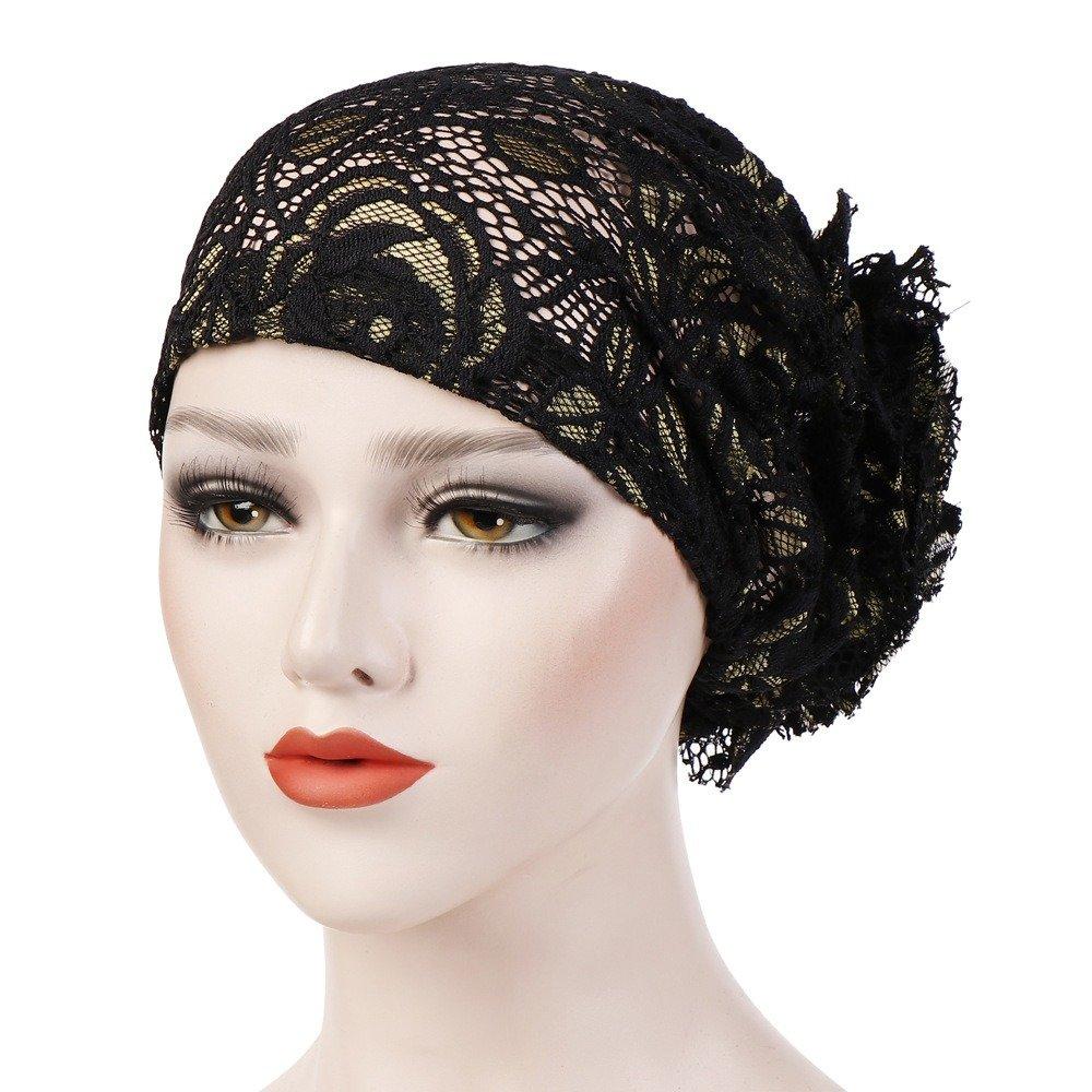 Women Breathable Lace Flower Beanie Cap Casual Wild Solid Bonnet Muslim Hat