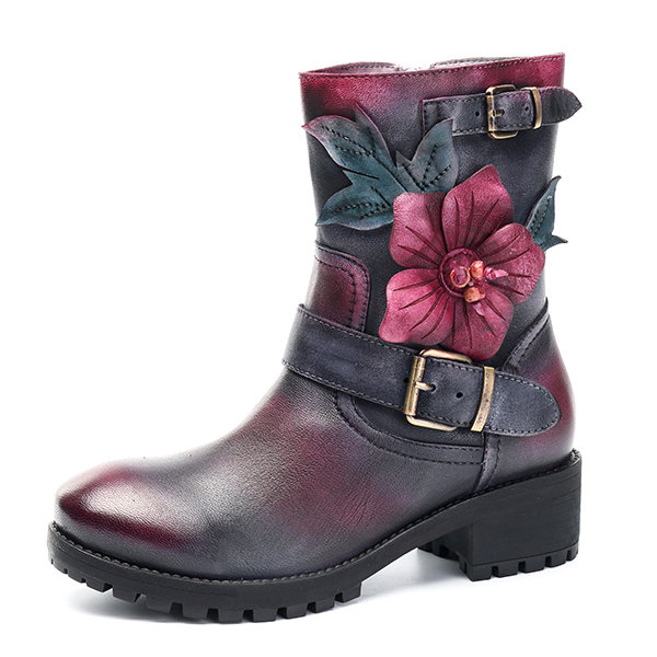 SOCOFY Sooo Comfy Handmade Flower Buckle Ankle Leather Boots