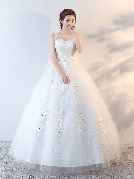 Milanoo Princess Ball Gown Wedding Dresses Lace Applique Beaded Floor Length Ivory Bridal Dress
