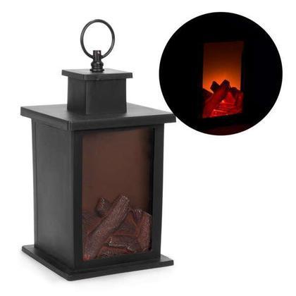 Black led lantern with logs motif 5.5X5.5X9