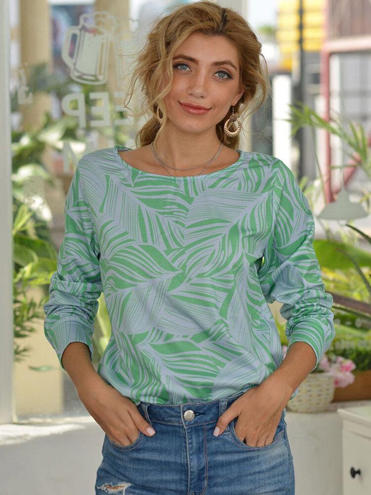 Leaf Print Long Sleeves O-neck Casual Sweatshirt