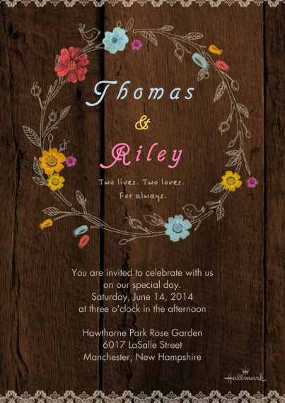 Wedding Invitations 5x7 Cards, Premium Cardstock 120lb with Rounded Corners, Card & Stationery -Wildflower Wreath Invitation