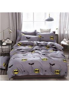 Cartoon Bats Duvet Cover Soft 4-Piece Washable Grey Bedding Sets
