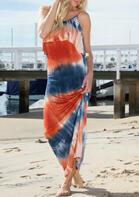 Tie Dye Open Back Maxi Dress - Orange