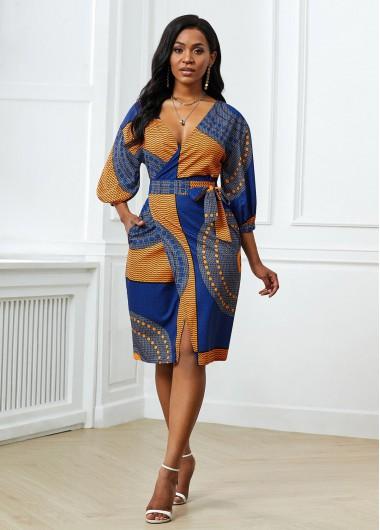 Wedding Guest Dress Belted Tribal Print Side Pocket Dress - M