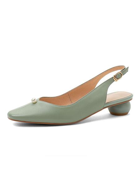Milanoo Women Mid Low Heels Square Toe Pearls Slip On Chunky Heel Pumps