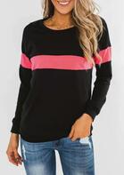 Color Block Long Sleeve Blouse - Black