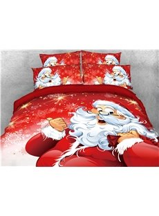 Santa Claus Carrying Gifts Red Printed 4-Piece 3D Bedding Sets/Duvet Covers
