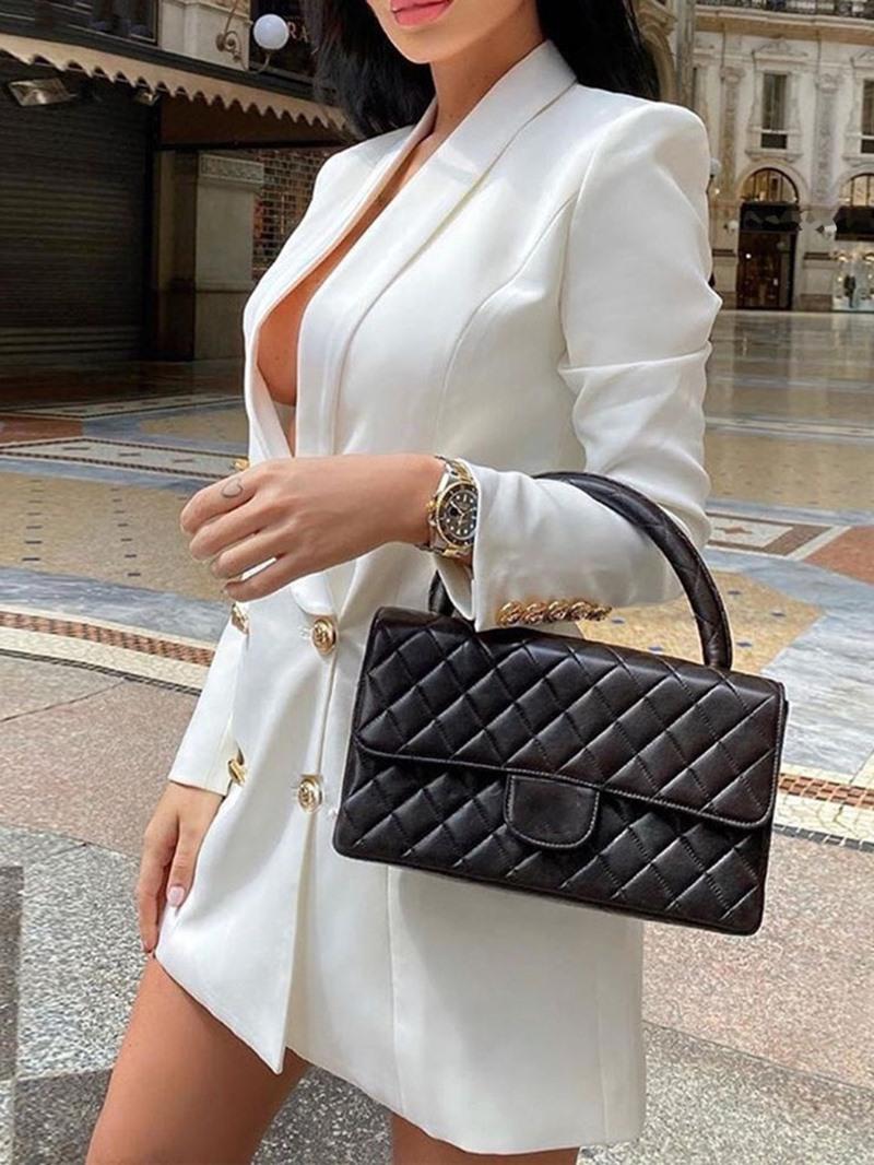 Ericdress Plain Long Sleeve Double-Breasted Fall Mid-Length Casual Blazer