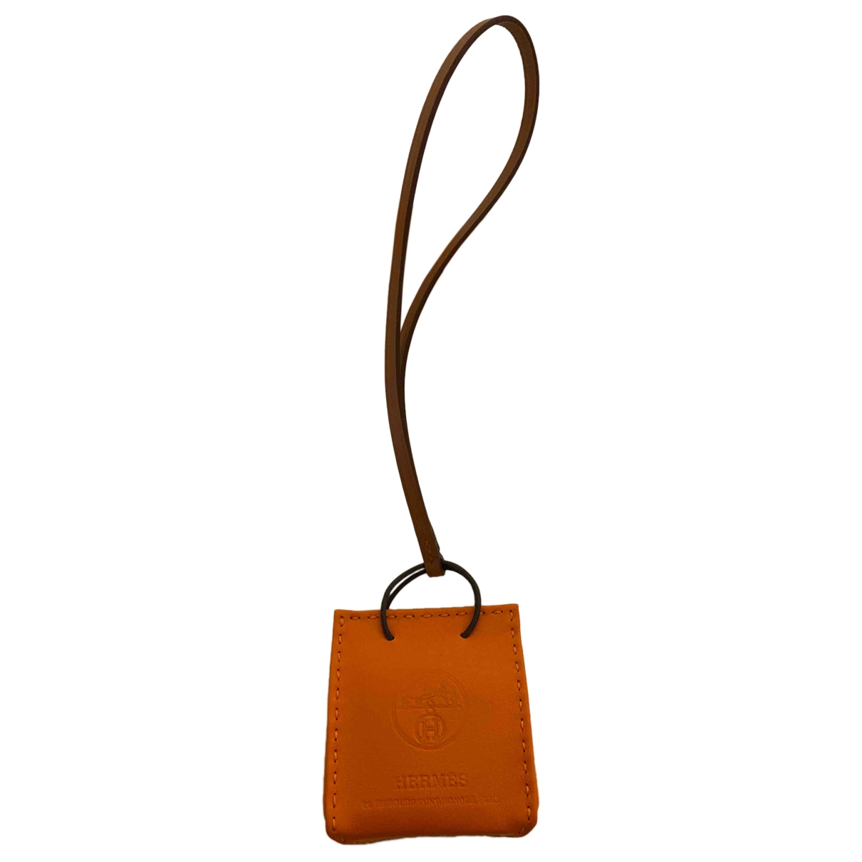 Hermès Shopping bag charm Orange Leather Bag charms for Women \N