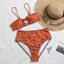 Zebra Stripe Ring Linked Bikini Swimsuit