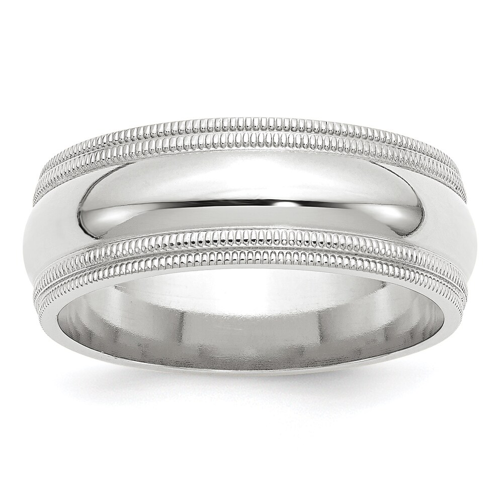 14K White Gold 8mm Double Milgrain Comfort Fit Band by Versil (11)