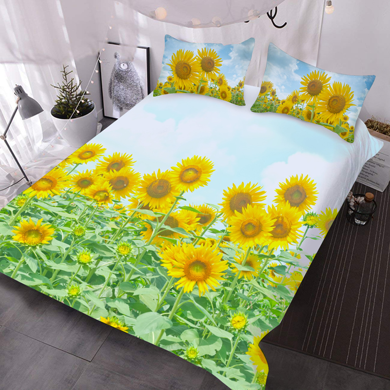 Sunflowers 3Pcs 3D Lightweight Comforter Set with 2 Pillow Covers Microfiber Wrinkle/Fade Resistant Comforter