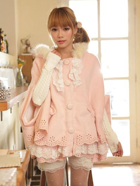 Milanoo Sweet Lolita Cloak Pink Lace Hooded Faux Fur Bow Half-Sleeve Lolita Cape