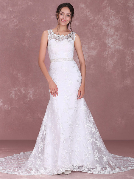 Milanoo Chic White Satin Jewel Neck Lace A-line Bridal Wedding Dress